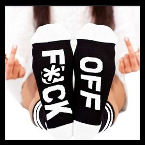 Women's F*ck Off Black & White Crew Socks